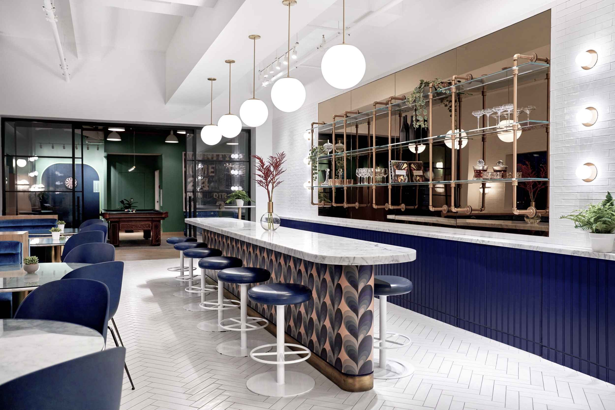 Bar stool seating in the Herald Towers Cafe