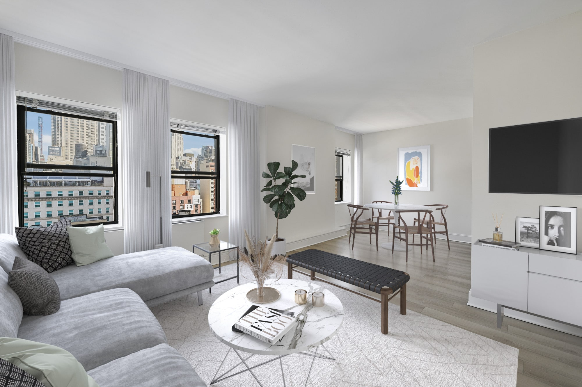 Studio apartment with open layout
